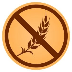 Illustration of gluten free circle brown icon