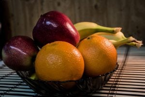 fruit in bowl on counter