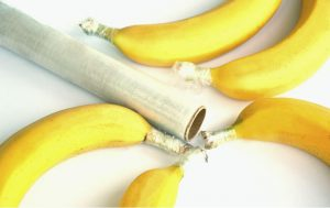 bananas with stems wrapped to prolong freshness